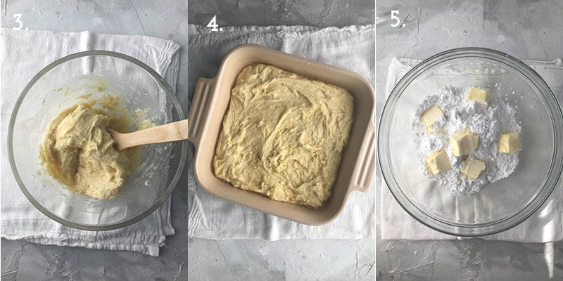 a photo collage showing the steps to make wedding cake bars