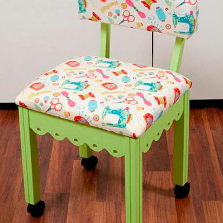 Take a look at this, how nifty! I was thinking not only would this chair be great for extra sewing storage - but what about your crochet and paper craft accessory storage as well?! So neat, especially for small spaces!