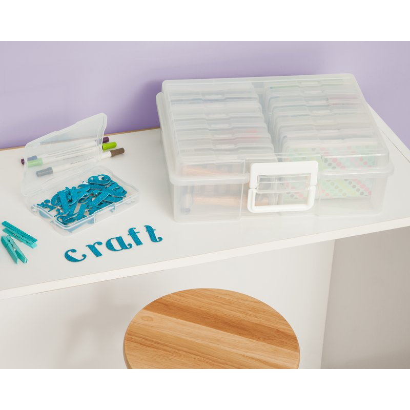 This is awesome if you enjoy paper craft organization as much as I do! It's helpful for loose paper storage and useful for simple organization, but I'm also thinking this would be GREAT for sorting small items like needles, buttons, specialty craft pens etc. if you have a small desk like I do this doesn't take up a lot of room either.