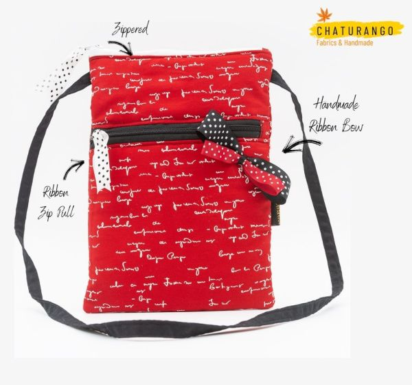 Happy Princess Red Text 2 https://chaturango.com/happy-princess-red-sling-bag-for-girls/