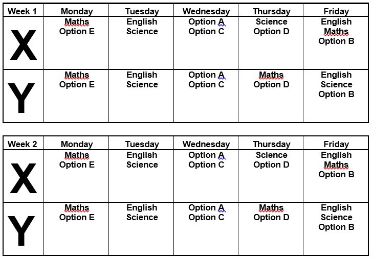 Year Eleven Homework Timetable