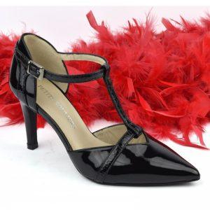Escrapins mi saison verni noir avec brides pour petits pieds