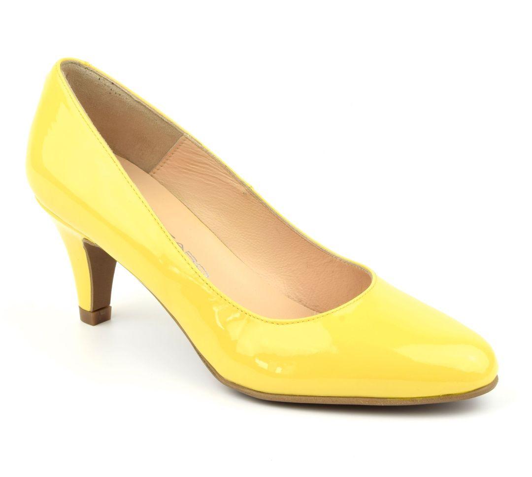 escarpins verni jaune bout rond petites pointures