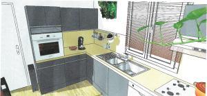Projet cuisine réalisé avec Sketchup Chaux ROOM 02