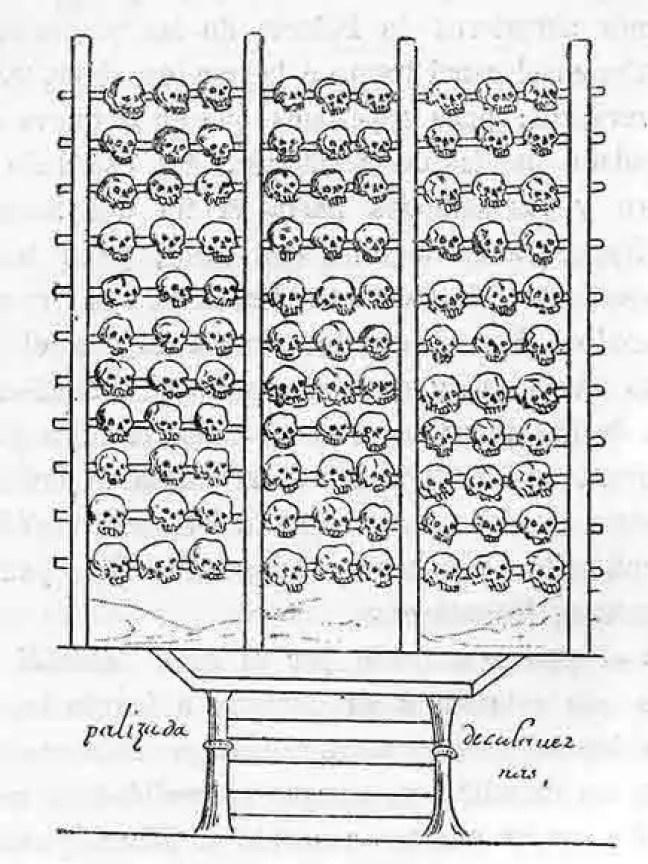 Uma representação espanhola de um tzompantli, desenhada no décimo sexto século.