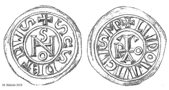 As moedas tinham o monograma do papa, possivelmente a Papisa Joan, uma ao lado e o nome do imperador Franks do outro