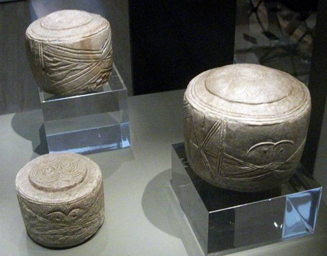 Os tambores de Folkton expostos no Museu Britânico