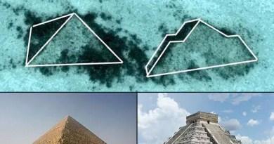 As estruturas avistadas através do Google Earth parecem ter a forma de uma pirâmide