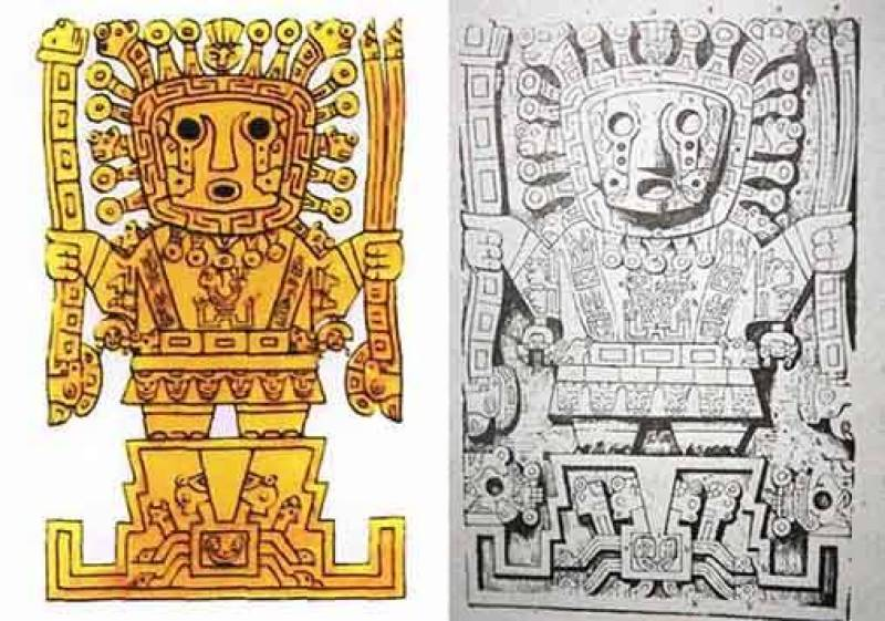 Representações do Senhor dos cajados (ou Viracocha), como o esculpido na Puerta del Sol