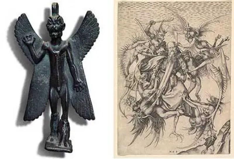 Esquerda: estátua de Pazuzu, demônio sumério do ar. Direita: ilustração de demônios do ar em The Temptation of San Antonio
