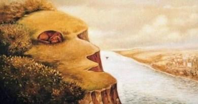 A pintura apresenta uma ilusão de ótica em que é possível enxergar dois elementos, um cão deitado na paisagem ou o rosto de uma pessoa em perfil. Escolha sua opção preferida e encontre seu resultado!
