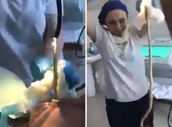 A equipe do hospital realizou a operação na mulher para tirar a cobra da boca