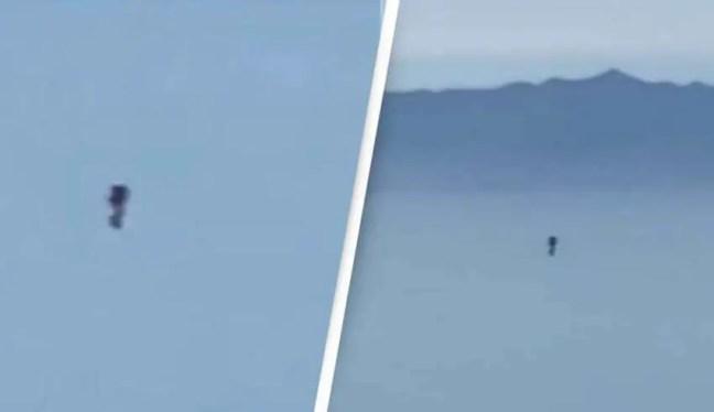 Um piloto registra um humanóide voando sobre Los Angeles