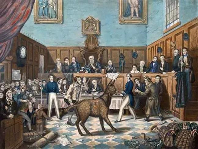 """A acusação foi instaurada por Richard Martin , também conhecido como """"Humanity Dick"""", e o caso tornado-se memorável porque ele trouxe o burro ao tribunal."""