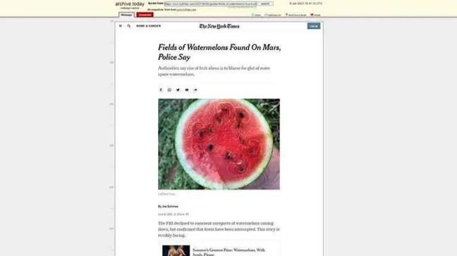 Post do New York sobre melancias em Marte