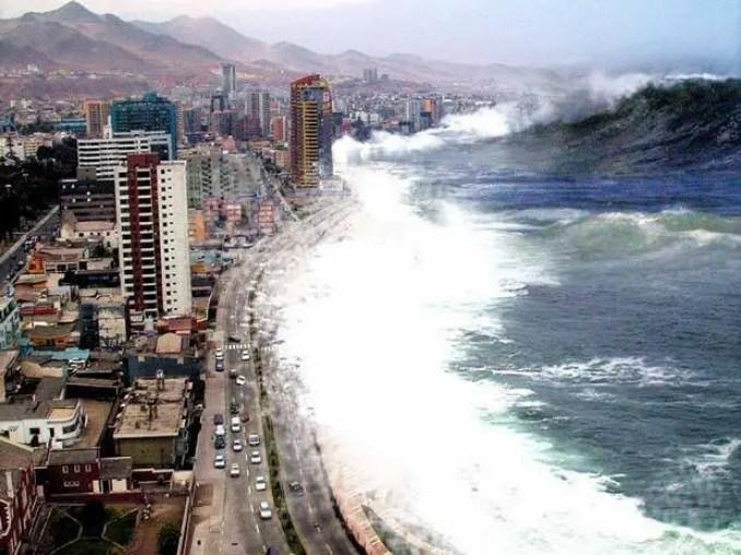 Tsunamis são gerados por qualquer deslocação significativa da água nos oceanos e lagos, embora sejam criados de modo usual por movimento das placas tectônicas no fundo do mar, durante um sismo, por exemplo.