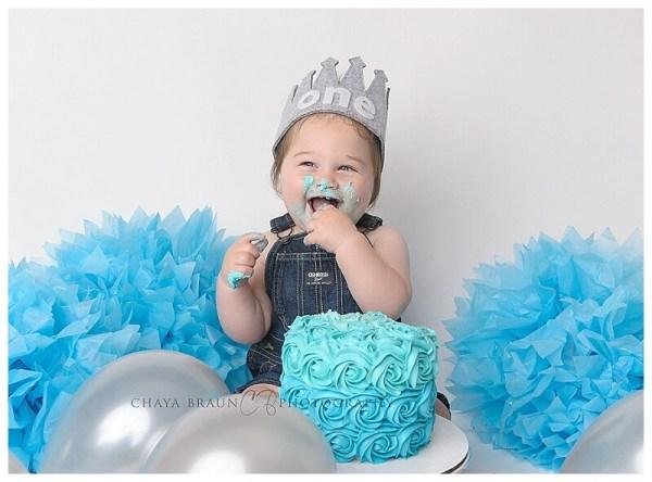happy birthday cake smash blue and silver
