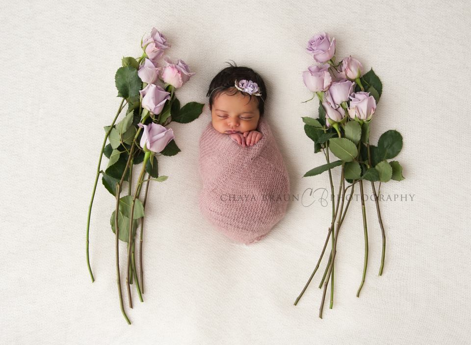 newborn baby girl with purple roses