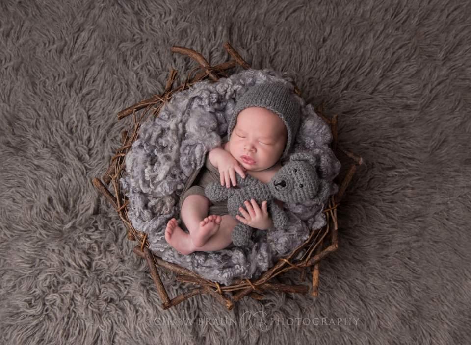 sleeping newborn baby in a nest