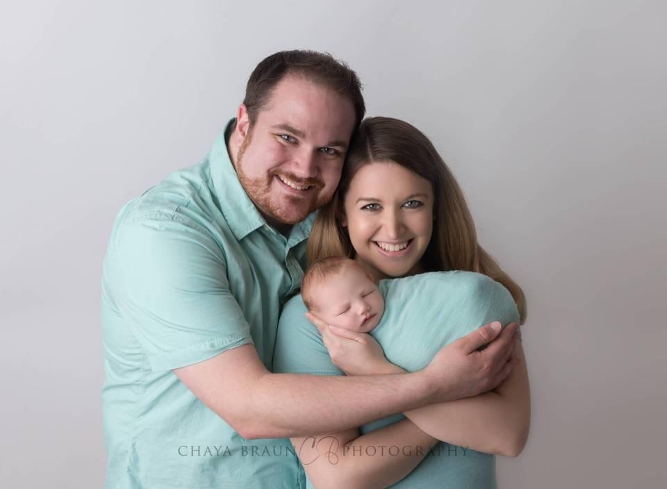 rainbow baby newborn family photo