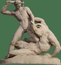 Theseus fighting the Minotaur