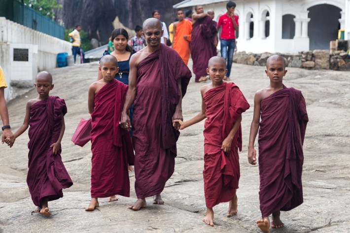 buddhist monks -DAMBULLA-SRI-LANKA-