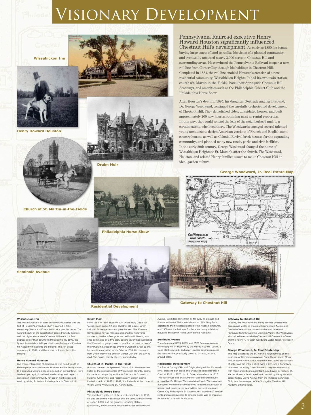 """2015 – Installation of """"Discovering Chestnut Hill: 300 Years of History"""" permanent exhibit"""