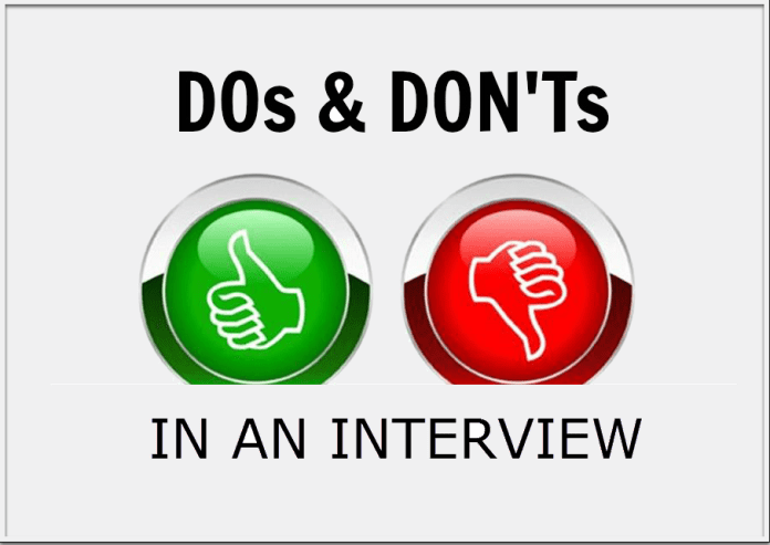 Do's and Dont's in an interview