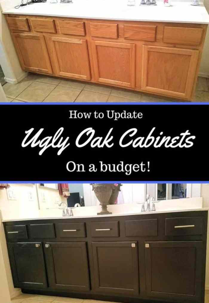 How to Update Ugly Oak Cabinets On A Budget