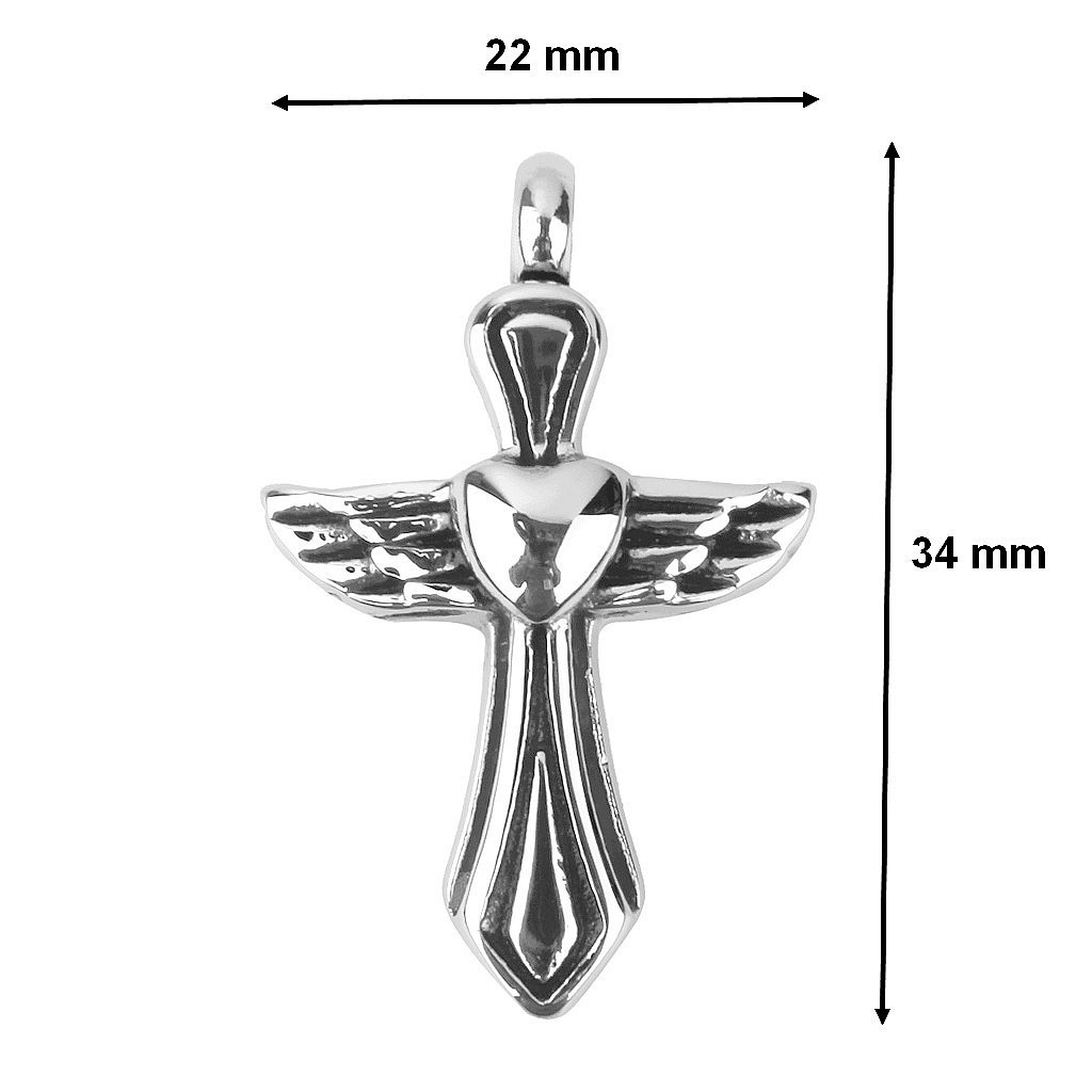 CHEAP Necklace With Cinerary Urn Vial Crucifix angel wings
