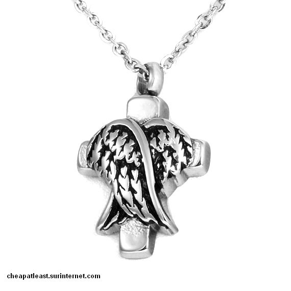 Necklace cinerary Pendant funeral urn vial Crucifix angel