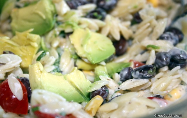 Orzo, Black Bean and Corn Salad and Buttermilk Dressing