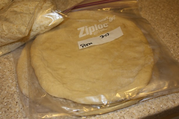 pizza crusts ready for freezing