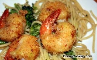 Breaded Fried Shrimp with Spaghetti