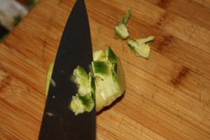 trim the rough edges from the artichoke
