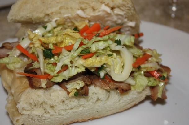 pork sandwiches with pickled slaw