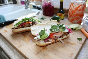 making the banh mi