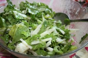 jicama salad with arugula and romaine salad with lime-cilantro dressing