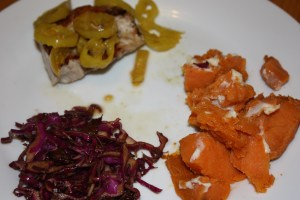 Pork Chop with Peppers, Cabbage and Sweet Potato