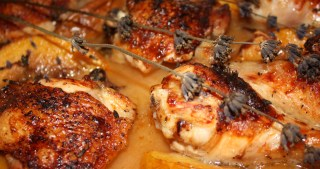 Roast Chicken with Peaches, Honey & Lavender