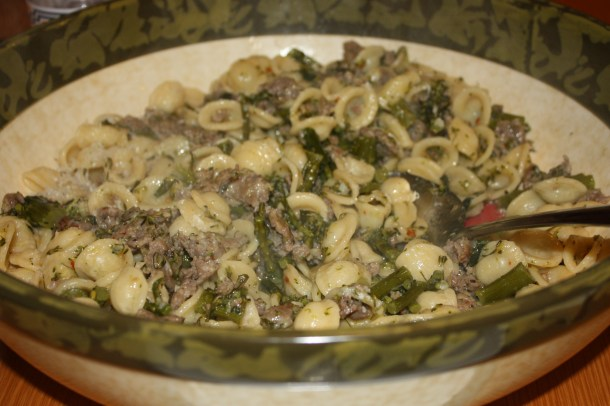orechiette with broccolini and sausage