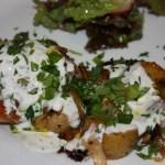 harissa chicken with leeks, potatoes and yogurt