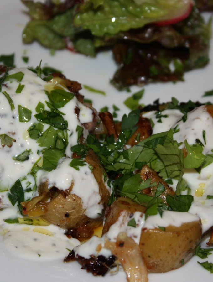 harissa chicken with leeks, potatoes and yogurt