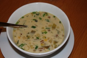 corn and three onion chowder