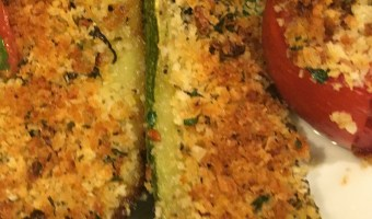 Roast Zucchini and Tomatoes with Bread Crumbs