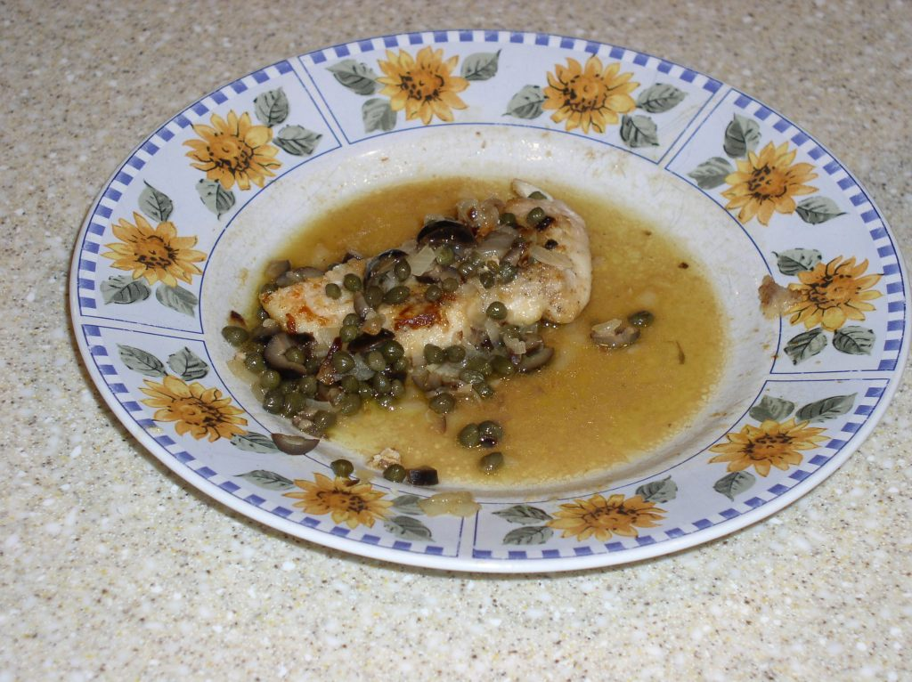 Sauteed Chicken with Olives, Capers, and Onions