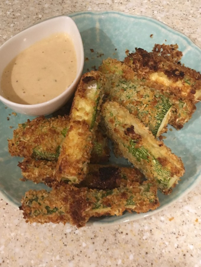 zucchini fries with honey mustard ranch dipping sauce