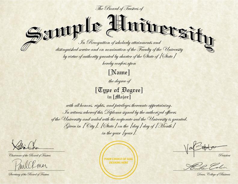 sample college diploma wording