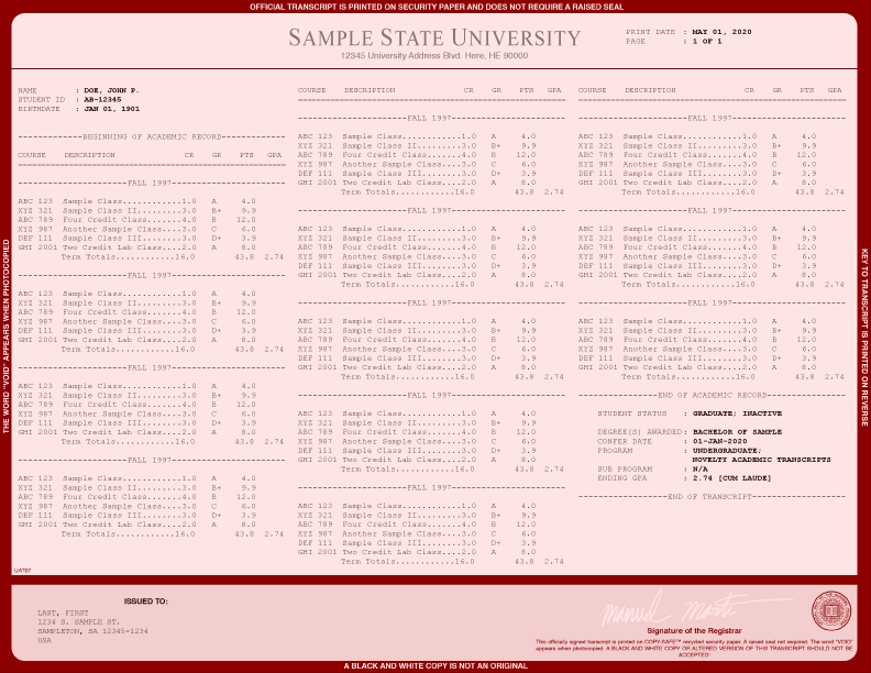 COLLEGE TRANSCRIPT TEMPLATE // T03-MAROON