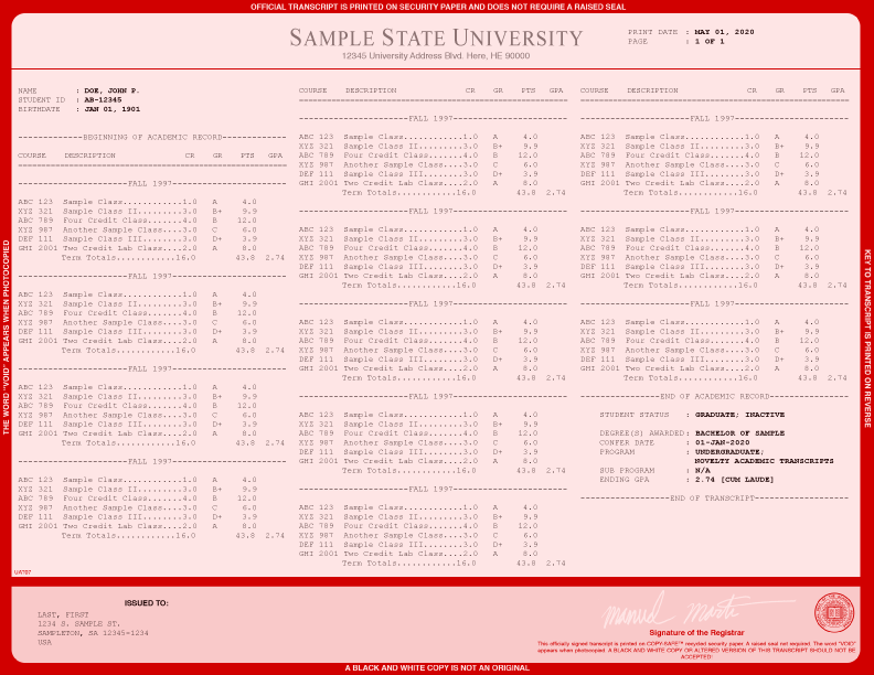 COLLEGE TRANSCRIPT TEMPLATE // T03-RED